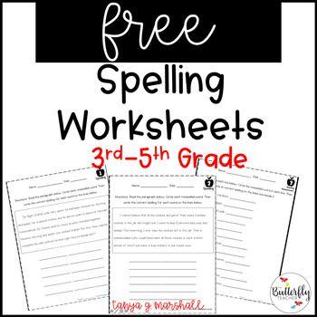 Free Spelling Worksheets 3rd 5th Grade Spelling Practice