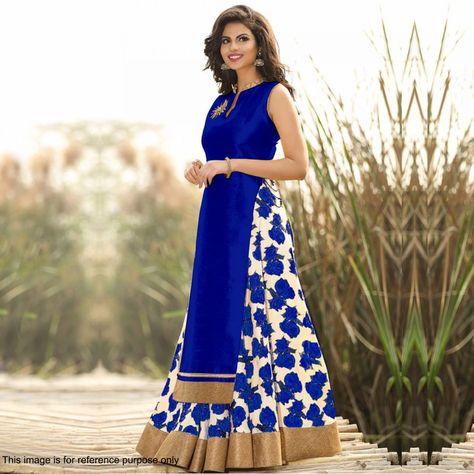 Buy Royal Blue Printed Lehenga Kurti - Latest Lehenga Online Shopping at…