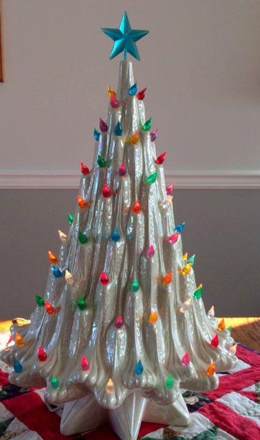 Rare Vintage Ceramic Christmas Tree 23 White Lava Atlantic Mold Mid Century Vintage Ceramic Christmas Tree Unusual Christmas Trees Ceramic Christmas Trees