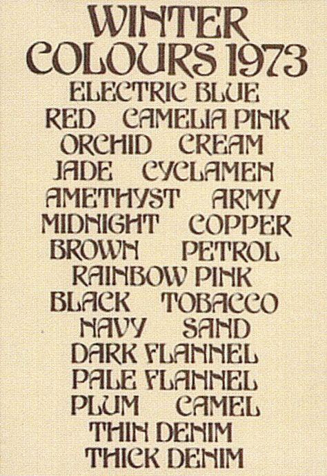 Biba. Winter colours 1973