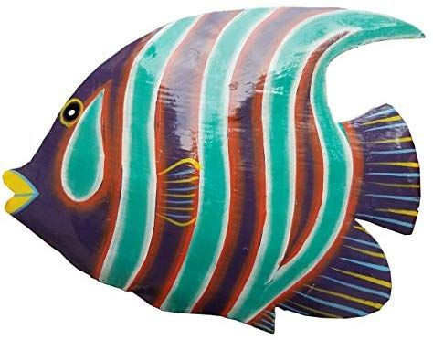 Amazon Com Hand Chiseled Painted Tropical Metal Art Wall Decor Fish Home Kitchen Metal Art Art Wall Wall Art Decor