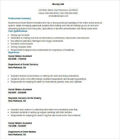 Social Worker Resume Templates 12 Free Ms Word Pdf Resume