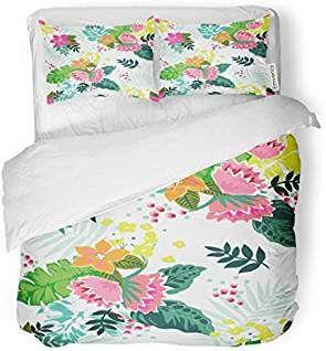 Sanchic Duvet Cover Set Watercolor Pattern Tropical Flower Colorful Floral Cute Hibiscus Decorative Bedding Set With 2 P Beautiful Duvet Cover Duvet Covers Bed