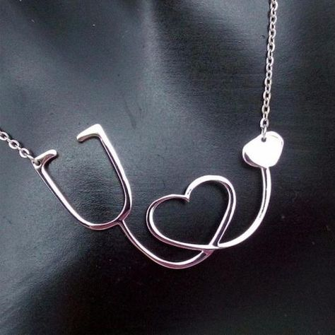 Medical Stethhoscope Heart Collar Necklace