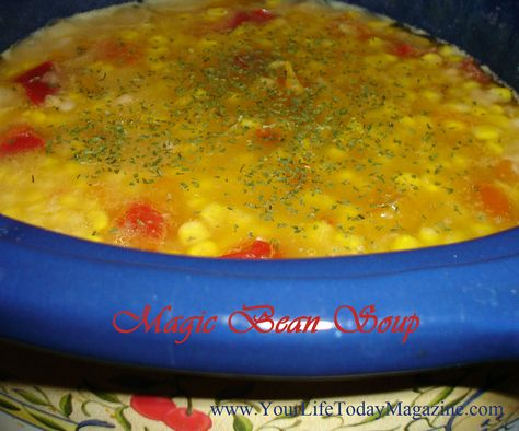Magic Bean Soup with Sweet Corn & Bell Peppers