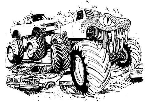 ausmalbilder monster truck - vorlagen zum ausmalen gratis ausdrucken