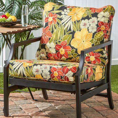Greendale Home Fashions Outdoor Deep Seat Cushion Set Aloha Black Walmart Com Outdoor Deep Seat Cushions Deep Seat Cushions European Home Decor