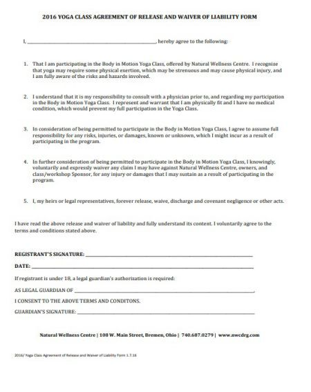 Yoga Liability Waiver Form Create And Download Free Templates Template Sumo Liability Waiver Free Yoga Form
