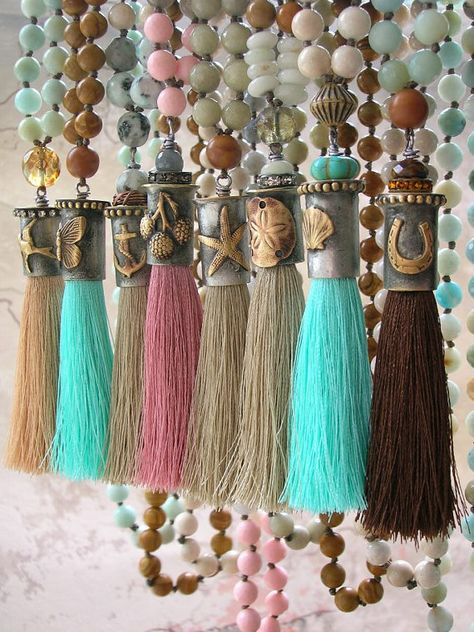 RESERVED for PRISCILLA  Horseshoe knotted tassel necklace - Summer Festival - equestrian good luck boho jewelry long necklace  gemstones