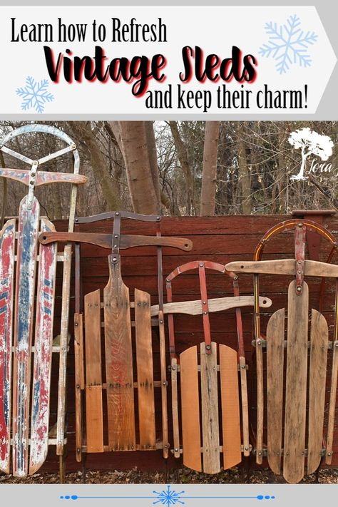 Expert tips for how to refresh vintage runner sleds so you can use them for your wintertime home decor. christmas Expert tips for how to refresh vintage sleds. Christmas Sled, Antique Christmas, Primitive Christmas, Rustic Christmas, Father Christmas, Christmas Wreaths, Xmas, Upcycled Home Decor, Diy Home Decor