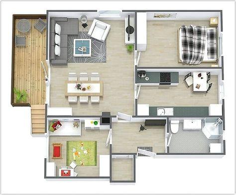gambar denah rumah minimalis 2 kamar tidur 3d   denah