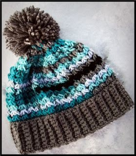 Crochet Trinity stitch hat free pattern with or without pompom - (there's a scarf and wristers to match)