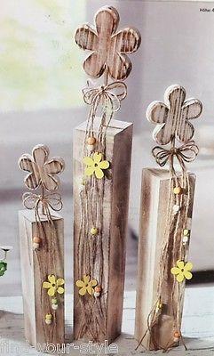 3 Holz Blume Blumen Deko Sockel Säulen Frühling Sommer