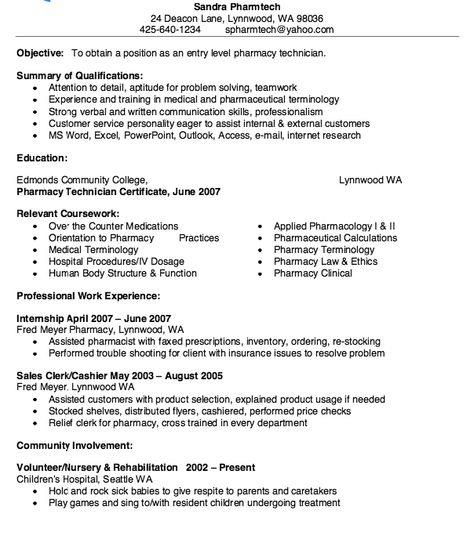 Sample Pharmacy Technician Resume - http\/\/resumesdesign - resume for pharmacy technician