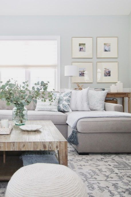 48 ideas living room sectional sofa house for 2019 Living Room Sectional, Living Room Furniture, Living Room Decor, Grey Sectional, Grey Couches, Coastal Living Rooms, Living Room Grey, Living Spaces, Living Area