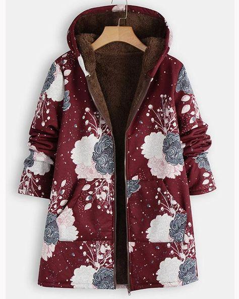 Women's Long Sleeve Coats Cotton Linen Fluffy Fur Zipper Parkas Hoodie – Prilly outwear fashion outwear jacket warm coat outfit coats for women #fallcoats#warm#casualcoats