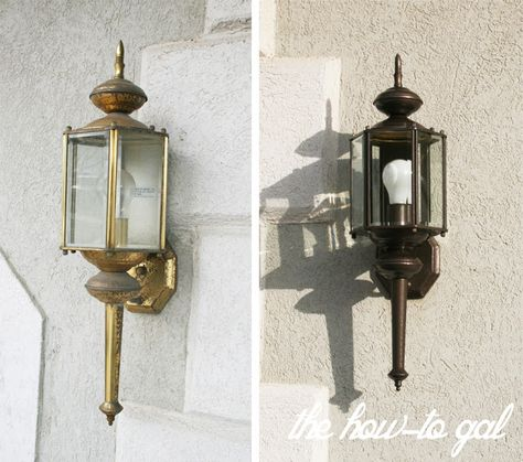 Updating outdated light fixtures with @Rustoleum spray paint!