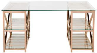 Rose Gold And Glass Computer Desk Rose Gold Decor Home Rose Gold Decor Home Interior Design Rose Gold Rose Gold Room Decor Gold Room Decor Gold Home Decor