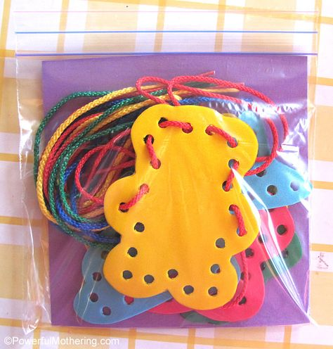 How to make Foam Lacing Shapes- great tutorial from Powerful Mothering #FineMotor #KBN #CreativeMamas