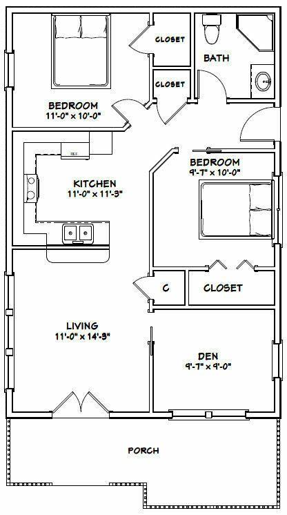24x36 House 2 Bedroom 1 Bath 864 Sq Ft Pdf Floor Plan Model 1 29 99 Picclick Tiny House Floor Plans Small House Plans Tiny House Plans