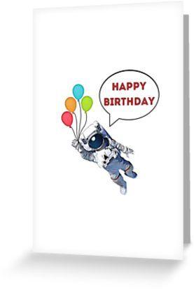 Happy Birthday Astronaut Card Astronaut Sticker Astronaut Mug Good Vibes Fun Gift Present Ideas Greeting Card By Willow Days Funny Birthday Cards Funny Greeting Cards E Greeting Cards