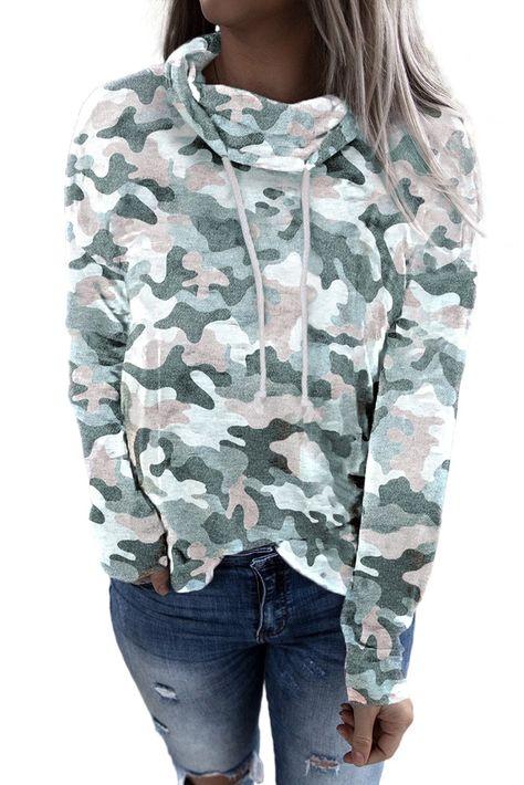 Green Camo Drawstring Sweatshirt - L