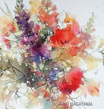 Yuko Nagayama Japon Watercolor Flowers Watercolor