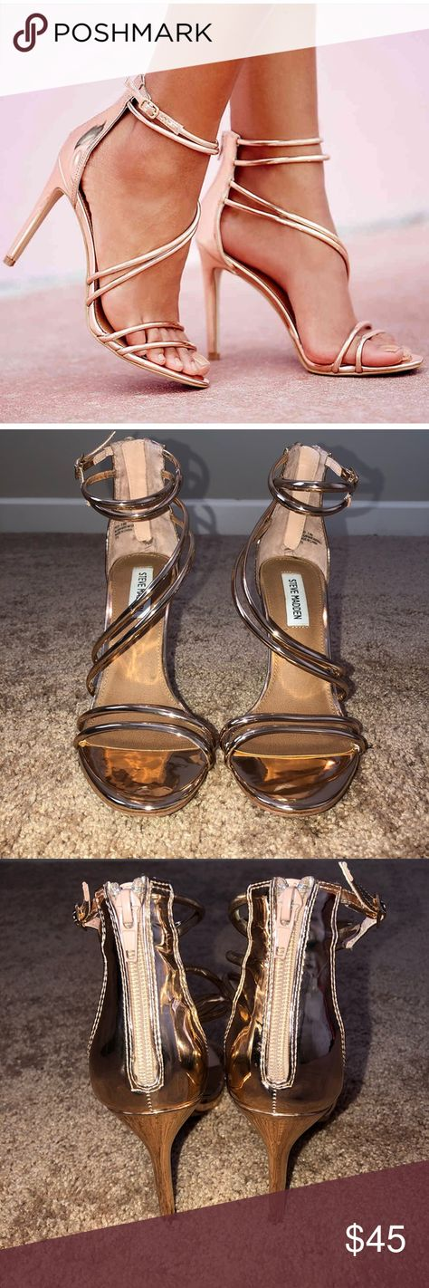 11a4940b769 Steve Madden Fico Rose Gold Strappy Heels Steve Madden fico heels. Strappy  design. Rose
