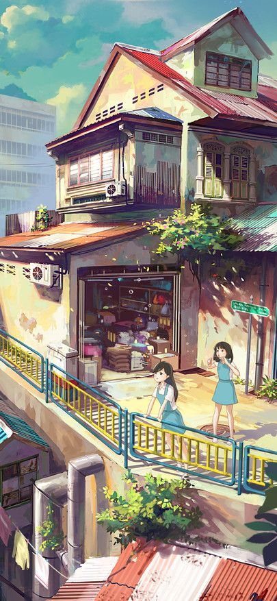 Caricature Setting Japan Builds A House Wallpapers For Iphone X Iphone Xs And Iphone Xs Max Free Wallpaper Anime Scenery Anime City Anime Scenery Wallpaper