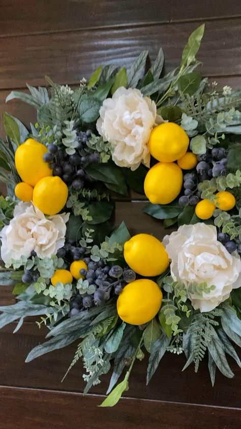 Our lemon blueberry wreath creates a beautiful welcome