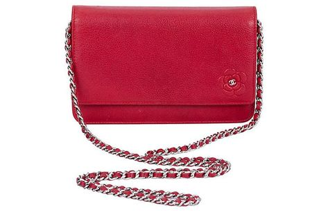 Chanel Red Caviar Leather Wallet On A Chain With Embossed Camellia