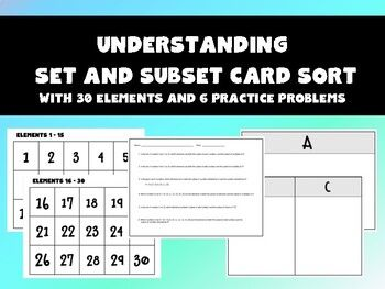 Help Your Students Better Understand Set And Subset With This Card Sort Activity Included Elements 1 30set Sorting Cards Sets And Subsets Sorting Activities