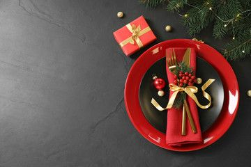 Beautiful Christmas Table Setting On Black Background Top View Space For Text Aff Setting Christmas Table Settings Christmas Table Beautiful Christmas