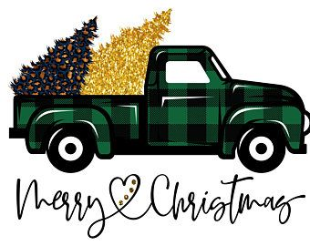 Truck Commercial 2020 Christmas Buffalo Plaid Merry Christmas Truck Trees PNG INSTANT DOWNLOAD