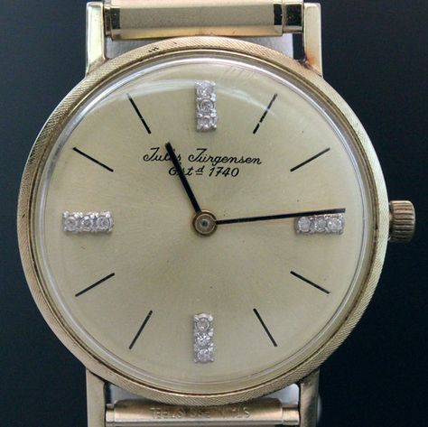 Vintage Jules Jurgensen 14k Yellow Gold Diamond Dial Manual Gents Wrist Watch