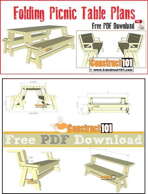 free folding picnic table bench plans pdf