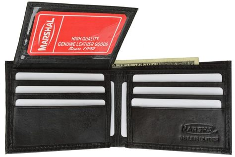 Men/'s Black Genuine Leather Wallet with 16 Credit Card Slots// ID Slot by Marshal