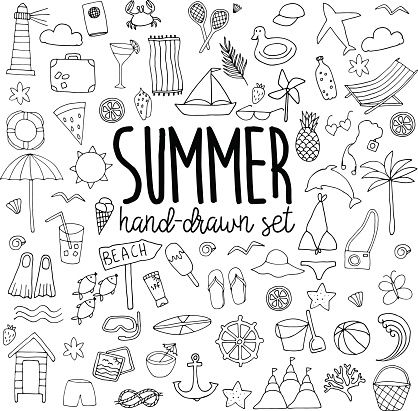 Hand Drawn Line Summer Set On White Background Bullet Journal Bullet Journal Doodles How To Draw Hands