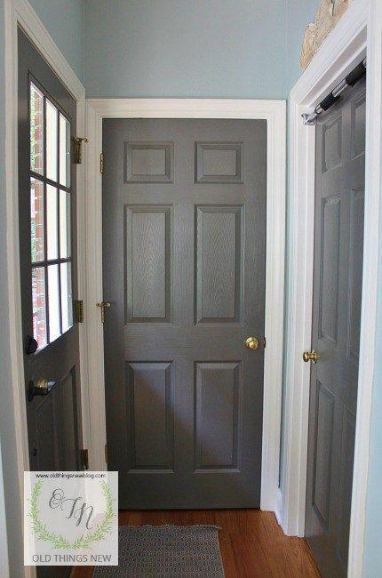 Happily Going Grey Grey Interior Doors Grey Doors White Trim Doors Interior