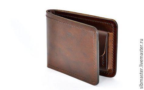 42df34bab3bc Купить Бумажник из натуральной кожи - коричневый, кошелек мужской, бумажник  мужской, бумажник из кожи