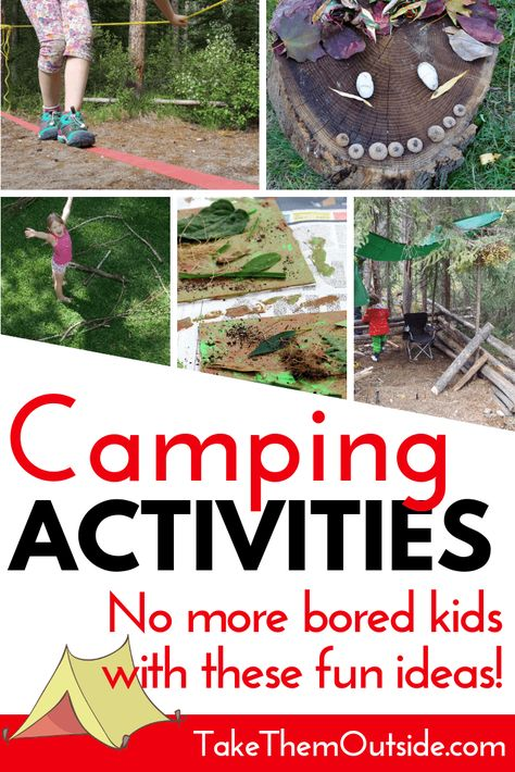 How to make sure your kids aren't bored at the campground No more bored kids at the campsite with this list of fun and easy camping activities for families. You'll find camping crafts, campfire games, outdoor activities, board game suggestions and more. Camping Diy, Camping Crafts For Kids, Camping With Toddlers, Camping Activities For Kids, Camping Theme, Camping Ideas, Camping Hacks, Outdoor Camping, Camping Checklist