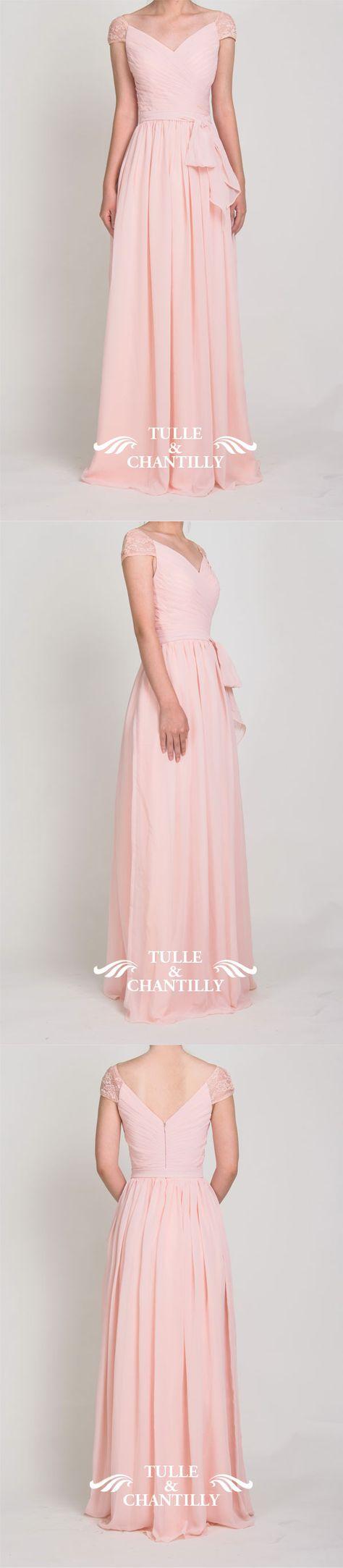 long pink chiffon bridesmaid dress with cap sleeves