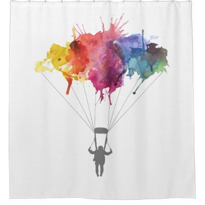 Skydiver Parachute Skydiving Parachuting Shower Curtain Zazzle