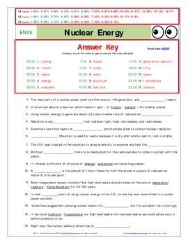 An 'Eyes of Nye' - Nuclear Energy –EN05- Worksheet, Ans ...
