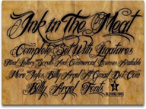 Cool Tattoo Fonts: Ink In The Meat Tattoo Font Design By Billy Argel ~ tattoosartdesigns.com Tattoo Ideas Inspiration