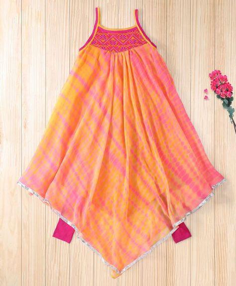 Kids designer dresses - Twisha Orange Asymetrical Hem Shibori Kurta With Leggings