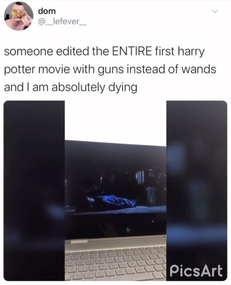 Someone edited Harry Potter with them using guns instead of wands