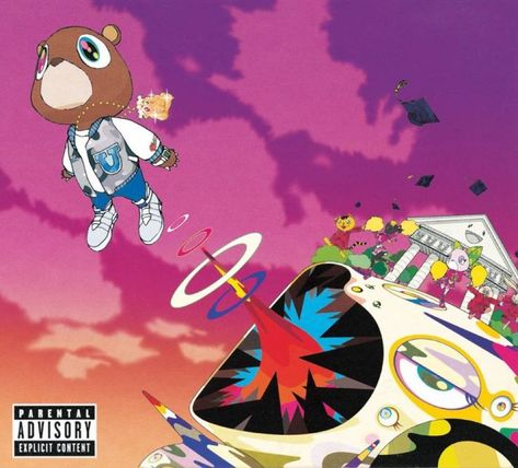Kanye west tapped takashi murakami to art direct his 2007 album graduation . the cover executed Rap Album Covers, Iconic Album Covers, Music Covers, Kanye West Album Cover, Takashi Murakami, Jeff Koons, Keith Haring, Yayoi Kusama, Cover Art
