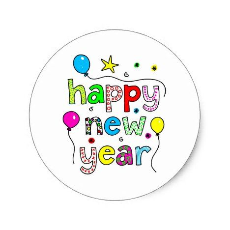 Happy New Year Classic Round Sticker Zazzle Com In 2021 Happy New Year Stickers Happy New Year Banner Happy New Year Pictures