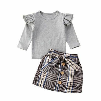 Details About Winter Kids Baby Girl Clothes Long Sleeve T Shirt And Plaids Skirt Dress Outfits In 2020 Girl Outfits Girls Fall Outfits Dress Skirt Outfits